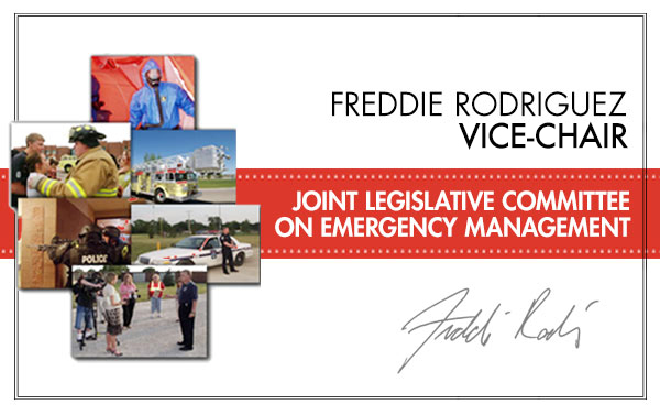 Asm. Freddie Rodriguez, Vice-Chair Joint Legislative Committee on Emergency Management