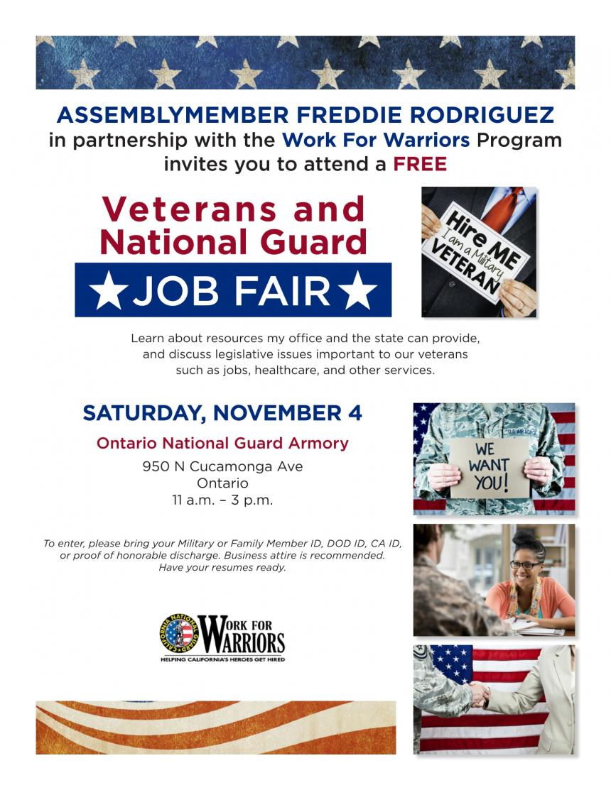 Work for Warriors/Veteran and National Guard Job Fair Flyer
