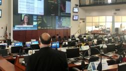 Asm. Rodriguez views the CalOES main operations center room.