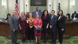 L/R: ASM Rodriguez, ASM Waldron, SEN Durazo, Dorene C. Dominguez, ASM Gonzalez, Speaker Anthony Rendon, ASM Cervantez